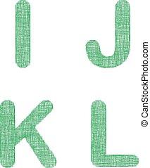Green fabric font set - letters I, J, K, L