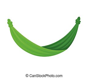 Green fabric hammock. Vector illustration on white background.