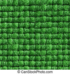Green fabric with structured and knitted fibres extreme close up. 1:3
