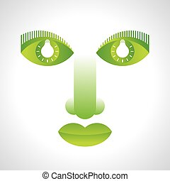 green face eco vector