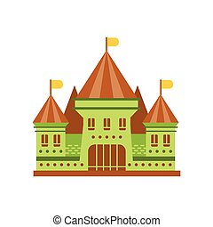 Green fairy tale castle with brown roof vector illustration