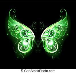 green fairy wings - Patterned, green, glowing fairy wings on...