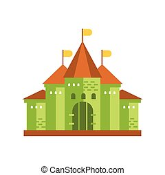 Green fairytale royal castle or palace building with brown roof vector illustration