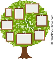 Green family tree with frames