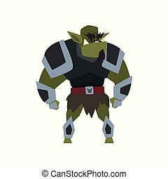 Green fantasy magical warrior creature character vector Illustration on a white background