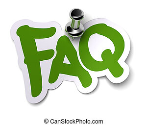 green FAQ sticker over a white background fixed with a metal...