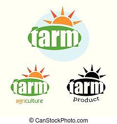 Green farm logo template design