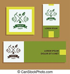 Green farm. Sketch logo for agriculture, horticulture.