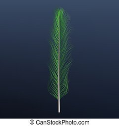 Green feather icon, realistic style