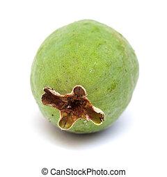 green feijoa fruit isolated on white background