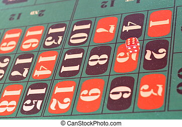 Green felt casino table. Gambling, poker, casino and cards games