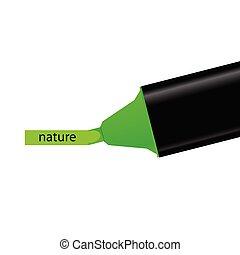 green felt pen with nature word illustration