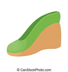 Green female shoe on a platform icon cartoon style - Green...