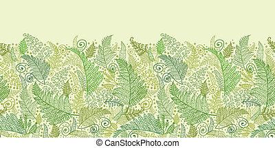 Green Fern Leaves Horizontal Seamless Pattern Border -...