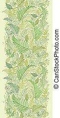 Green Fern Leaves Vertical Seamless Pattern Border - Vector...