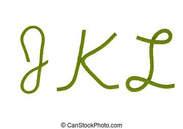 Green fiber rope J,K,L