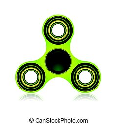 Green Fidget Spinner Focus Toy Illustration - A green fidget...