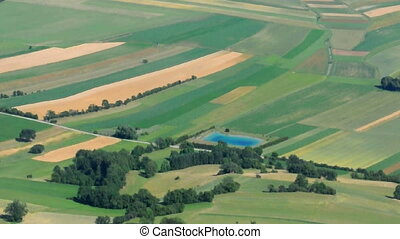 Green field aerial view