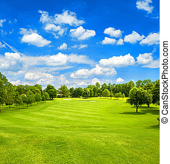 Green field and blue cloudy sky. Golf course. Fairway