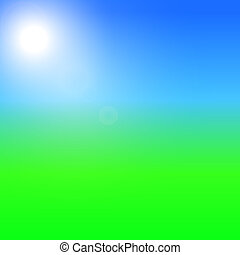 Green field and blue sky with summer sun burst. Vector illustration