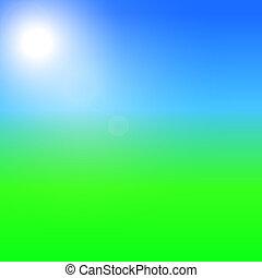 Green field and blue sky with summer sun burst. Vector illustration