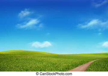 Green field and sky blue