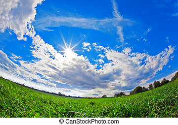 Green field, blue sky and white clouds