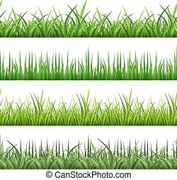 Green field grass. Horizontal vector seamless patterns set