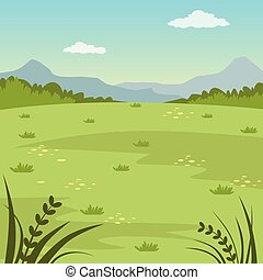 Green field, rural summer landscape, nature background vector illustration