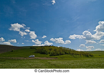 green field with blue sky and cloud