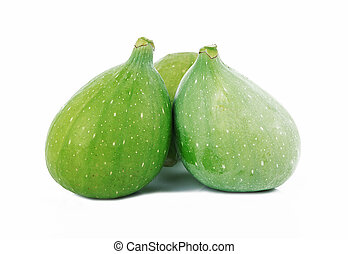 Green fig isolated on white background