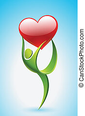 Green figure dancing with a heart