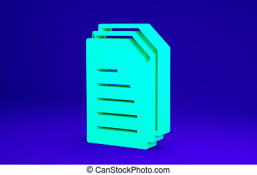 Green File document icon isolated on blue background. Checklist icon. Business concept. Minimalism concept. 3d illustration 3D render