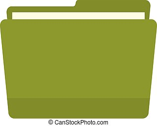 Green file folder icon, flat style
