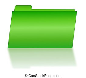 Green File Folder with Shadow