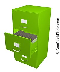Green filing cabinet - 3D illustration of a green Filing...