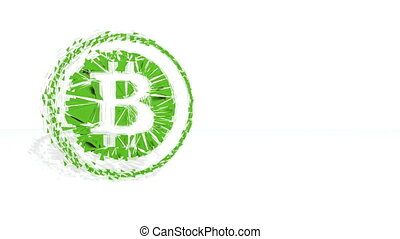 Green financial background made of 3d poligons. Polygons rotate and are collected in a picture. bitcoin icon in the circle 2