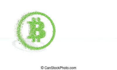 Green financial background made of 3d poligons. Polygons rotate and are collected in a picture. bitcoin icon in the circle