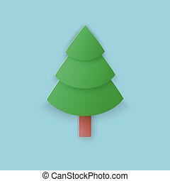Green fir tree on blue background