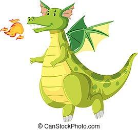 green fire breathing dragon