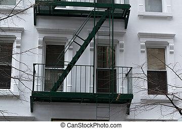 Green fire escape