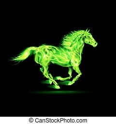 Running green fire horse on black background.