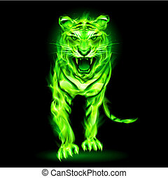 Green fire tiger. - Agressive green fire tiger isolated on...