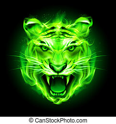 Head of agressive green fire tiger isolated on black background.