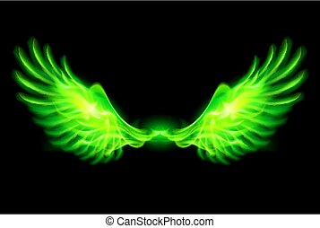 Green fire wings. - Illustration of green fire wings on...