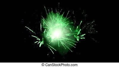 Green fireworks 4k