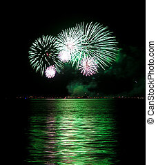 Green Fireworks - A fireworks in green displayed in the ...