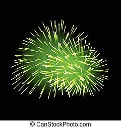 Green fireworks on dark background.