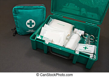 Green first kit - A green standard First aid kit, used to ...