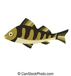 Green fish flat illustration on white